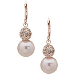 You're Invited Pave Ball & Pearl Drop Earrings