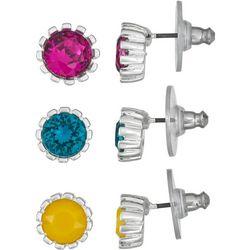 Trio Multi Color Stud Earring Set
