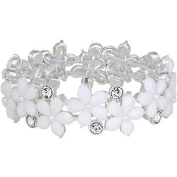 Napier White Flower Stretch Bracelet