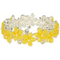 Napier Yellow Flower Link Stretch Bracelet