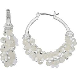 Napier Flower Beads Silver Tone Hoop Earrings
