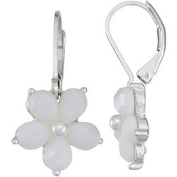 Napier White Flower Silver Tone Earrings