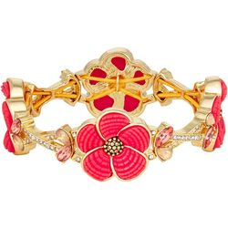 Napier Pink Flower Stretch Bracelet