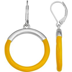 Napier Silver Tone & Yellow Hoop Drop Earrings
