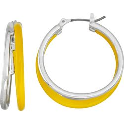 Napier Double Row Silver Tone & Yellow Hoop Earrings