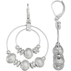 Napier Beaded Double Hoop Silver Tone Earrings