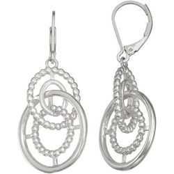 Napier Silver Tone Double Hoop Leverback Earrings