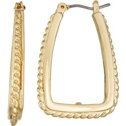 Napier Gold Tone Square Edge Textured Hoop Earrings