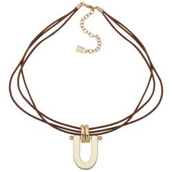 Chaps  Goldtone Dorrknocker Three Strand Cord Necklace