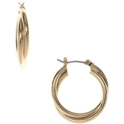 Nine West Twisted Gold Tone Hoop Earrings