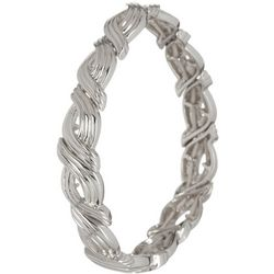 Silver Tone Waves Stretch Bracelet