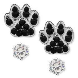 Pet Friends 2 Pc Pave Paw Print & Rhinestone Stud Earrings