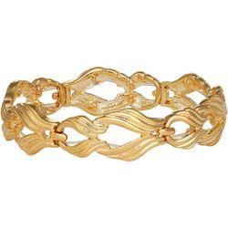 Napier Gold Tone Textured Swirl Stretch Bracelet