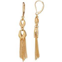 Napier Gold Tone Swirl & Chain Tassel Earrings