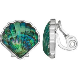 Napier Green Shell Clip On Earrings