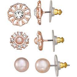 Napier Trio Pink Pearl & CZ Rose Tone Earring Set