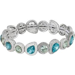 Napier Multi-Faceted Stones Silver Tone Stretch Bracelet