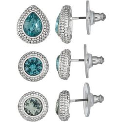 Napier Trio Multi-Faceted Stones Stud Earring Set