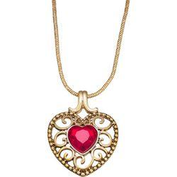 Napier Red Stone Filigree Heart Pendant Necklace