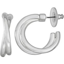 Napier Silver Tone Twist Hoop Earrings