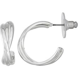 Napier Silver Tone Triple Row Hoop Earrings