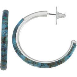 Nine West Silvertone Abalone C-Hoop Earrings