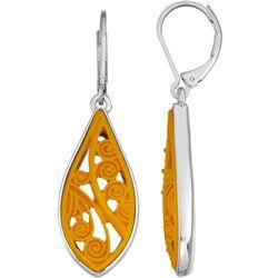 Napier Yellow & Silver Tone Leverback Earrings