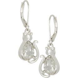 Napier  Rhinestone Cat Drop Earrings