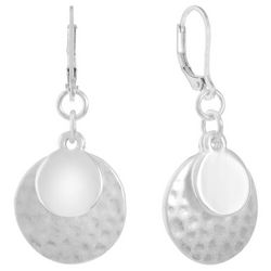 Chaps Silver Tone Layered Discs Leverback Drop Earrings