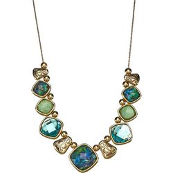 Multi Stone Front Gold Tone Necklace