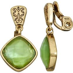 Napier Green & Gold Tone Clip On Earrings