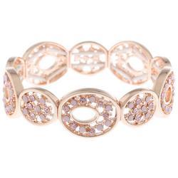 Pink Rhinestone Rose Gold Tone Bracelet