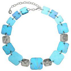 Gloria Vanderbil Aqua & Silver Square Collar Necklace