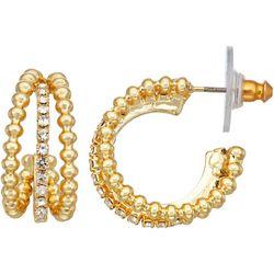 Napier Triple C-Cuff Rhinestone Earrings
