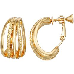 Napier Stacked Gold Tone C-Cuff Earrings