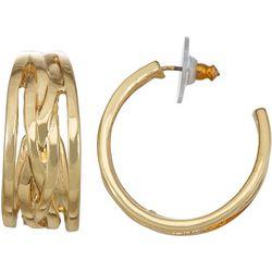 Napier Multi Row Gold Tone C-Cuff Earrings