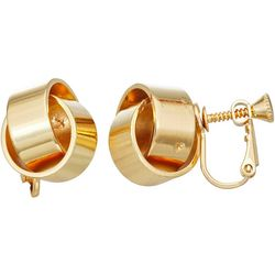 Napier Gold Tone Knotted Screw Back Earrings