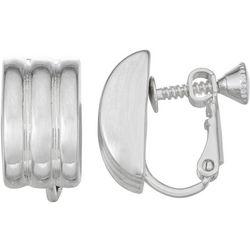 Napier Silver Tone Wide Ridge Clip On Earrings