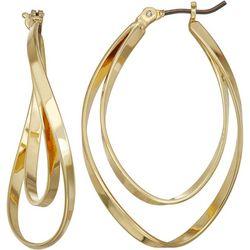 Napier Gold Tone Double Twist Oval Earrings