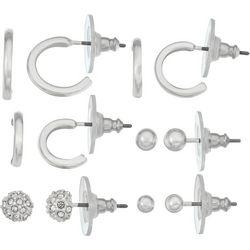 Nine West 6 Pc. Silver Tone Hoop & Stud Earring Set
