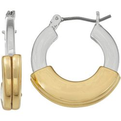 Nine West Two Tone Small Hoop Earrings