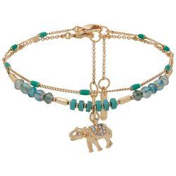 Nine West 2-pc. Gold Tone Bead Elephant Ankle Bracelet