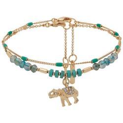 2-pc. Gold Tone Bead Elephant Ankle Bracelet