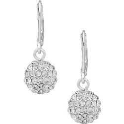 You're Invited Silver Tone Pave Rhinestone Drop Earrings