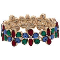 Gloria Vanderbilt Flower Rhinestone Stretch Bracelet