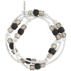 Nine West Hammered Silver Tone Beaded Stretch Bracelet