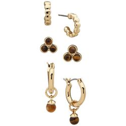 Chaps 3-pc. Gold Tone Tigers Eye Accent Earrings