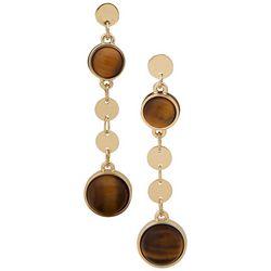Chaps Goldtone Tigerseye Linear Disc Drop Earrings