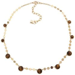 Chaps Tigerseye Disc Gold Tone Collar Necklace