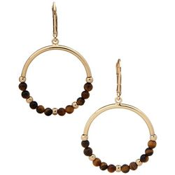 Chaps Goldtone Ring With Wood Beads Drop Earrings